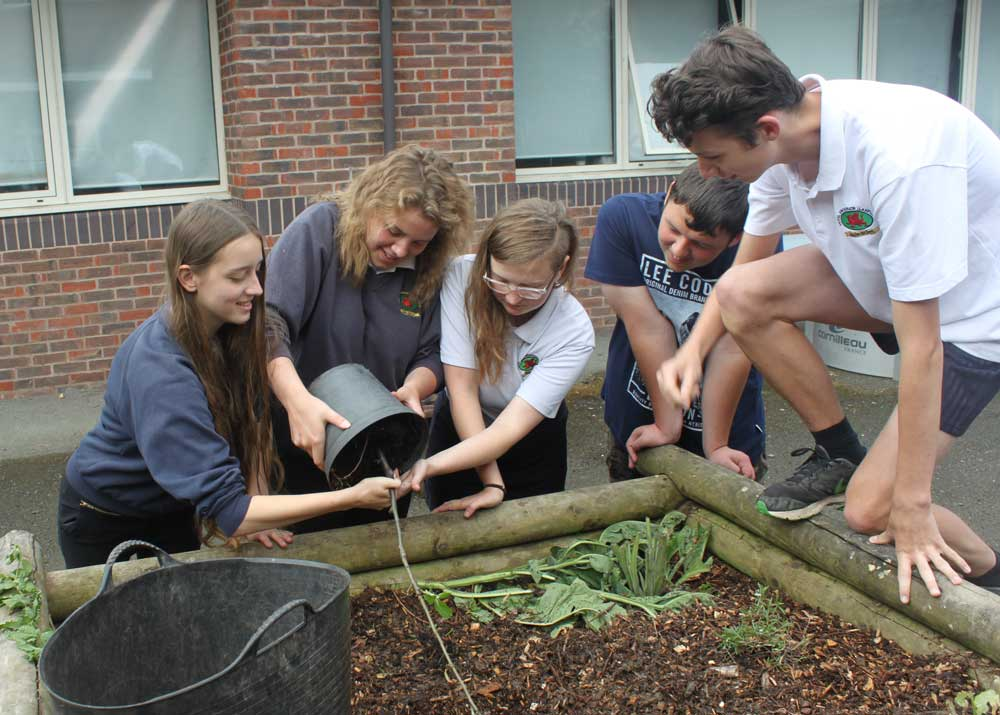 Students at Llanfyllin High School working on a permaculture project