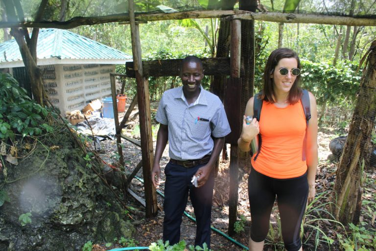S39 team member Grace with George, permaculture student and trustee from a neighbouring school
