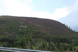 A destroyed hillside